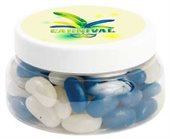 300gm Mini Jelly Beans Corporate Colours Large Round Plastic Jar
