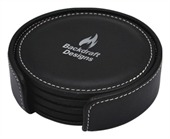 4 Piece Round Leather Coaster Set