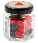 40gm Mini Jelly Beans Corporate Colours Small Hexagon Glass Jar