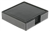 6 Piece Square Leather Coaster Set