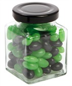 90gm Mini Jelly Beans Corporate Colours Small Square Glass Jar