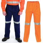 Cotton Drill Trousers With Reflective Tape