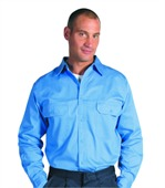 Cotton Drill Work Shirts Long Sleeve Gusset
