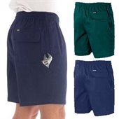 Drill Elastic Waist Shorts With Tool Pocket