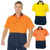 HiVis 2 Tone 190gsm Cotton Drill Vented Shirt Short Sleeve