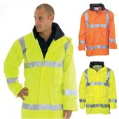 HiVis Breathable Rain Jacket With Reflective Tape