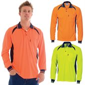 HiVis Cool Breeze Contrast Mesh Panel Polo Shirt Long Sleeve