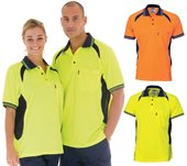 HiVis Cool-Breeze Contrast Mesh Panel Polo Shirt Short Sleeve
