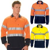HiVis Cool-Breeze Cotton Jersey Polo Reflective Tape Long Sleeve