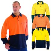 HiVis Cool-Breeze Cotton Mesh Underarm Jersey Polo Long Sleeve
