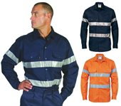 HiVis Cool-Breeze Cotton Shirt Reflective Tape Long Sleeve