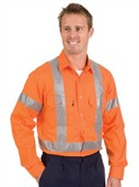 HiVis Cool-Breeze Cotton Shirt with Cross Back Reflective Tape Long Sleeve