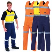 HiVis Cotton Action Back Overall With Reflective Tape