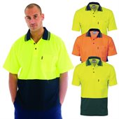 HiVis Cotton Back Two Tone Fluoro Polo Shirt Short Sleeve