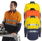 HiVis Day Night 190gsm Cotton Drill Work Shirt Long Sleeve