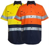 HiVis Day Night 190gsm Cotton Drill Work Shirt Short Sleeve