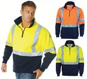 HiVis Day Night 2 Tone Half Zip Fleecy Sweat Shirt with Cross Back Reflective Tape