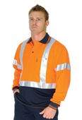 HiVis Day Night Micromesh Polo Shirt Cross Back Tape Long Sleeve