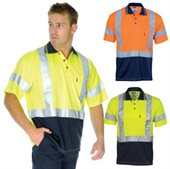 HiVis Day Night Micromesh Polo Shirt Cross Back Tape