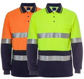 HiVis Day Night Traditional Polo Shirt Reflective Tape Long Sleeve