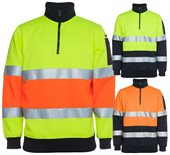 HiVis Half Zip Fleece Top With Reflective Tape