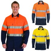 HiVis Two Tone 3 Way Cool-Breeze Cotton Shirt Long Sleeve