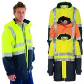 HiVis Two Tone Breathable Rain Jacket With Reflective Tape