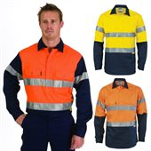 HiVis Two Tone Close Front Cotton Drill Shirt Long Gusset Sleeve