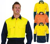 HiVis Two Tone Close Front Cotton Drill Shirt Long Sleeve