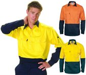 HiVis Two Tone Cool Breeze Close Front Cotton Shirt Long Sleeve