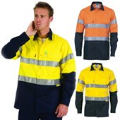 HiVis Two Tone Cool-Breeze Cotton Shirt Reflective Tape Long Sleeve