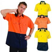 HiVis Two Tone Cool Breeze Cotton Shirt Short Sleeve
