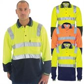 HiVis Two Tone Cotton Back Polo Shirts Reflective Tape Long Sleeve