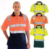 HiVis Two Tone Cotton Back Polo Shirts Reflective Tape Short Sleeve