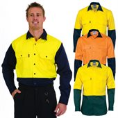 HiVis Two Tone Cotton Drill Shirt Long Sleeve
