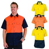 HiVis Two Tone Cotton Drill Shirt Short Sleeve