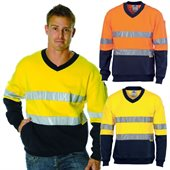 HiVis Two Tone Cotton Fleecy Sweat Shirt V-Neck Reflective Tape