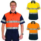 HiVis Two Tone Drill Shirt With Hoop Style Reflective Tape Short Sleeve