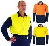 HiVis Two Tone Drill Shirt With Press Stud