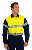 HiVis Two Tone Drill Work Shirt With Reflective Tape Long Sleeve