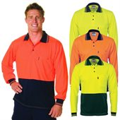 HiVis Two Tone Fluoro Micromesh Polo Shirt Long Sleeve