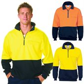 HiVis Two Tone Half Zip Cotton Fleecy Wincheater