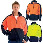 HiVis Two Tone Half Zip Hi Neck Panel Fleecy Top