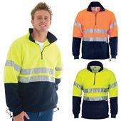 HiVis Two Tone Half Zip Polar Fleece With Reflective Tape