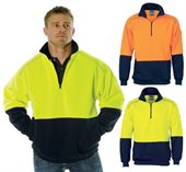 HiVis Two Tone Half Zip Reflective Piping Fleecy Sweat Shirt