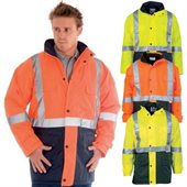 HiVis Two Tone Long Quilted Jacket With Reflective Tape