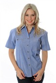 Ladies Cotton Chambray Short Sleeve