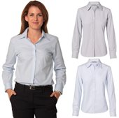 Ladies Fine Stripe Business Shirt Long Sleeve