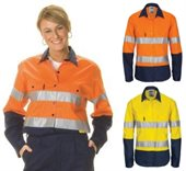 Ladies Hi Vis Cool Breeze Cotton Shirt Long Sleeve With Reflective Tape