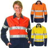 Ladies HiVis Two Tone Cotton Drill Shirt Reflective Tape Long Sleeve